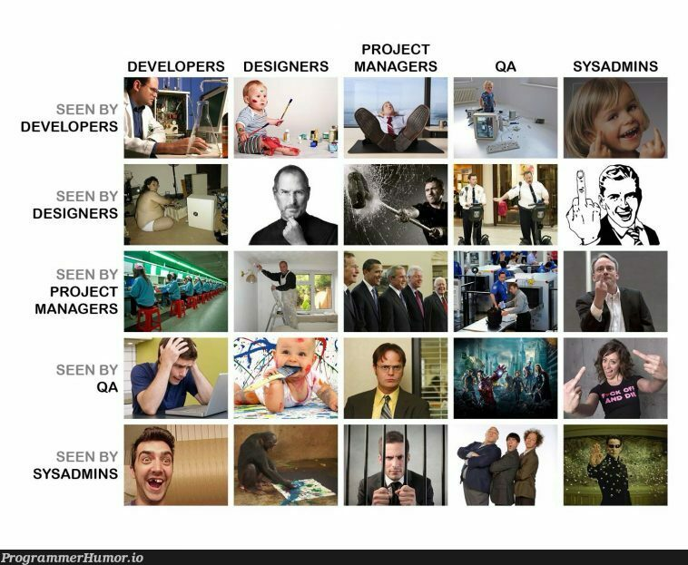 How people working on a project view each other | developer-memes, design-memes, designer-memes, qa-memes, sysadmin-memes, manager-memes | ProgrammerHumor.io
