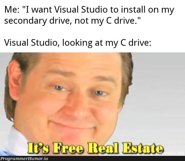 Installed VS on my new desktop the other day.   visual studio-memes, c-memes   ProgrammerHumor.io