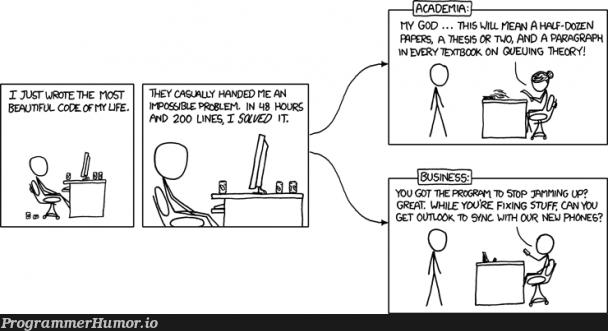 xkcd - Academia vs. business | code-memes, fix-memes, graph-memes | ProgrammerHumor.io