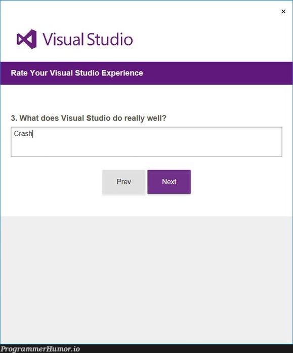 visual studio   visual studio-memes, crash-memes   ProgrammerHumor.io