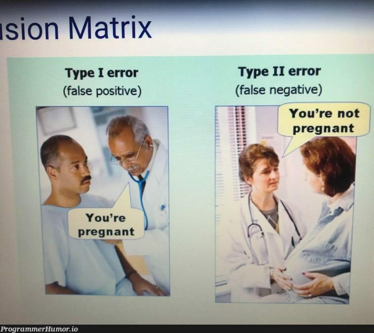 My teacher made this help the class remember type 1 & 2 errors | errors-memes, class-memes, error-memes | ProgrammerHumor.io