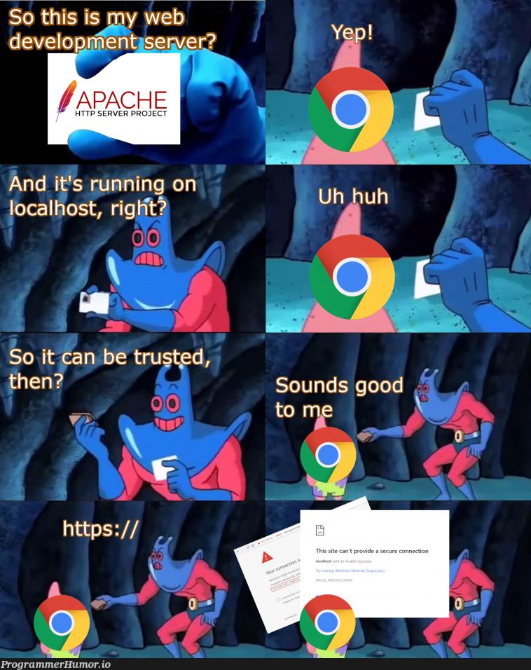 Local development be like | development-memes, web-memes, server-memes, loc-memes, http-memes, IT-memes | ProgrammerHumor.io