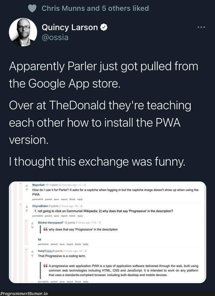 when web apps are too radically left wing | web-memes, google-memes | ProgrammerHumor.io