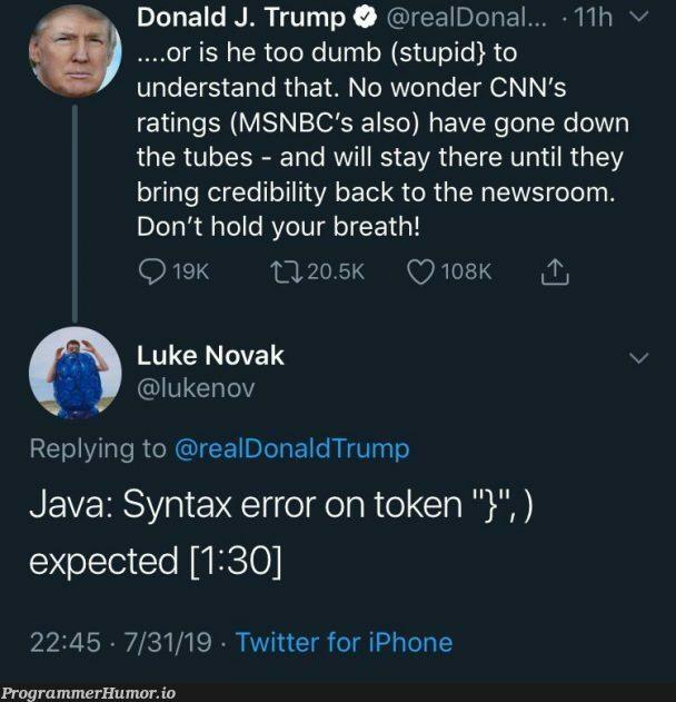 Syntax error on token