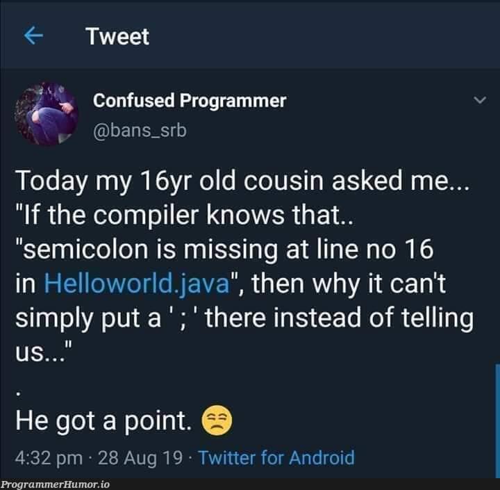 He's got a point!   programmer-memes, java-memes, android-memes, program-memes, compiler-memes, IT-memes, twitter-memes, semicolon-memes   ProgrammerHumor.io
