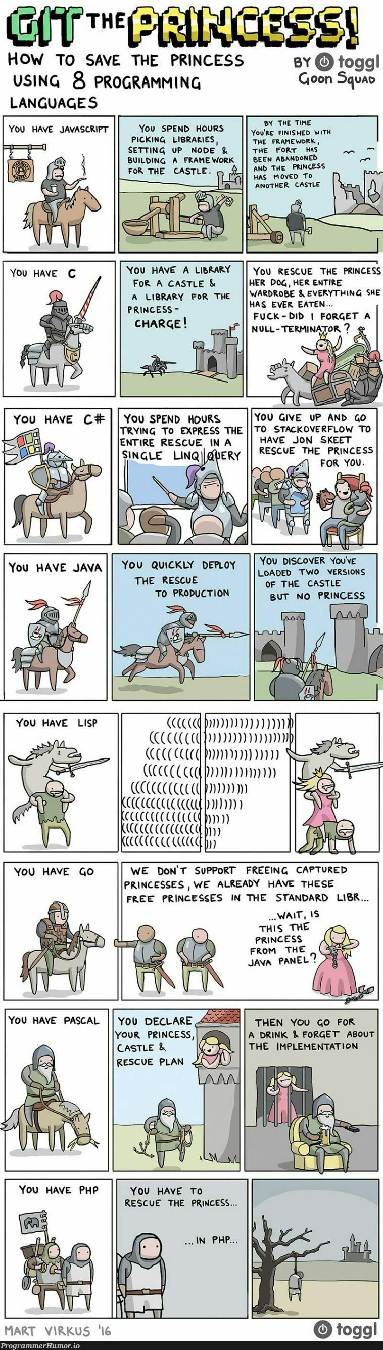 How to save the princess using 8 programming languages | programming-memes, javascript-memes, java-memes, program-memes, node-memes, version-memes, production-memes, language-memes, framework-memes, product-memes, programming language-memes | ProgrammerHumor.io