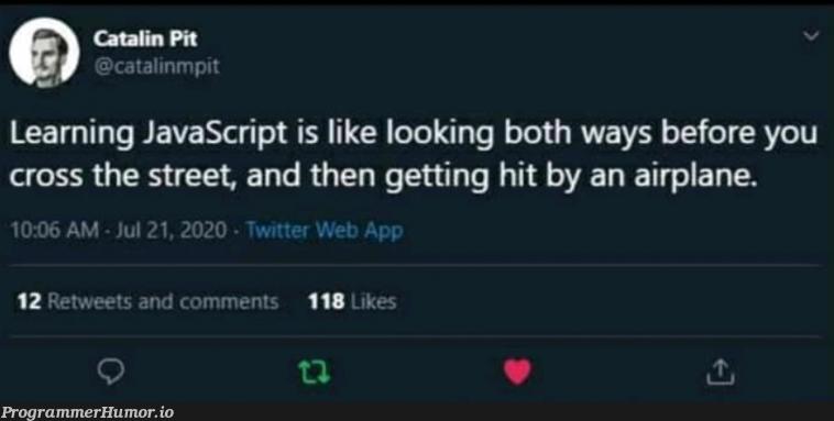 Javascript | javascript-memes, java-memes, web-memes, bot-memes, retweet-memes, comment-memes | ProgrammerHumor.io