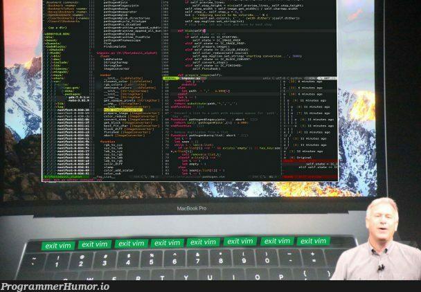 Apple Touch Bar for developers will look like this   developer-memes, unix-memes, vim-memes, try-memes, loc-memes, lock-memes, command-memes, version-memes, apple-memes, string-memes, list-memes, image-memes, scala-memes, function-memes, class-memes, __init__-memes, mac-memes, macbook-memes, macbook pro-memes, runtime-memes   ProgrammerHumor.io