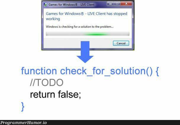 check for solution reverse engineered   engineer-memes, windows-memes, function-memes, cli-memes   ProgrammerHumor.io