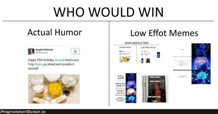 Low Effort | linux-memes, ux-memes, IT-memes, bot-memes | ProgrammerHumor.io