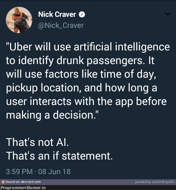 That's not AI. | loc-memes, if statement-memes, IT-memes, ide-memes, artificial intelligence-memes | ProgrammerHumor.io