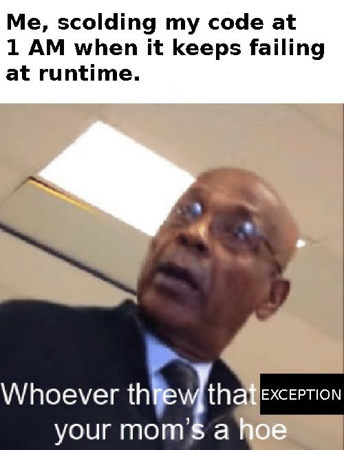Try Catch ftw   code-memes, try catch-memes, try-memes, catch-memes, IT-memes, runtime-memes, exception-memes   ProgrammerHumor.io