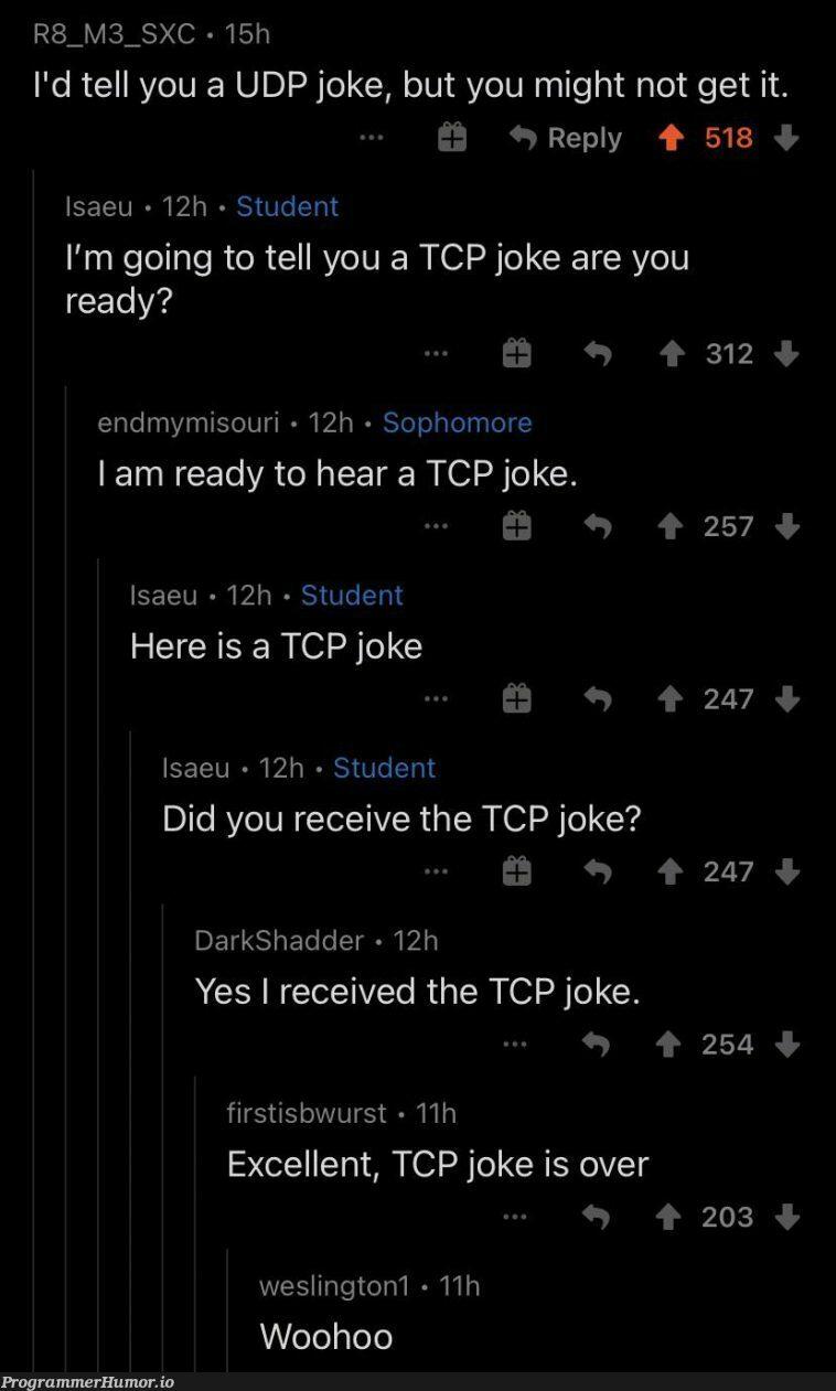 I'm going to tell a joke | excel-memes, tcp-memes, udp-memes | ProgrammerHumor.io
