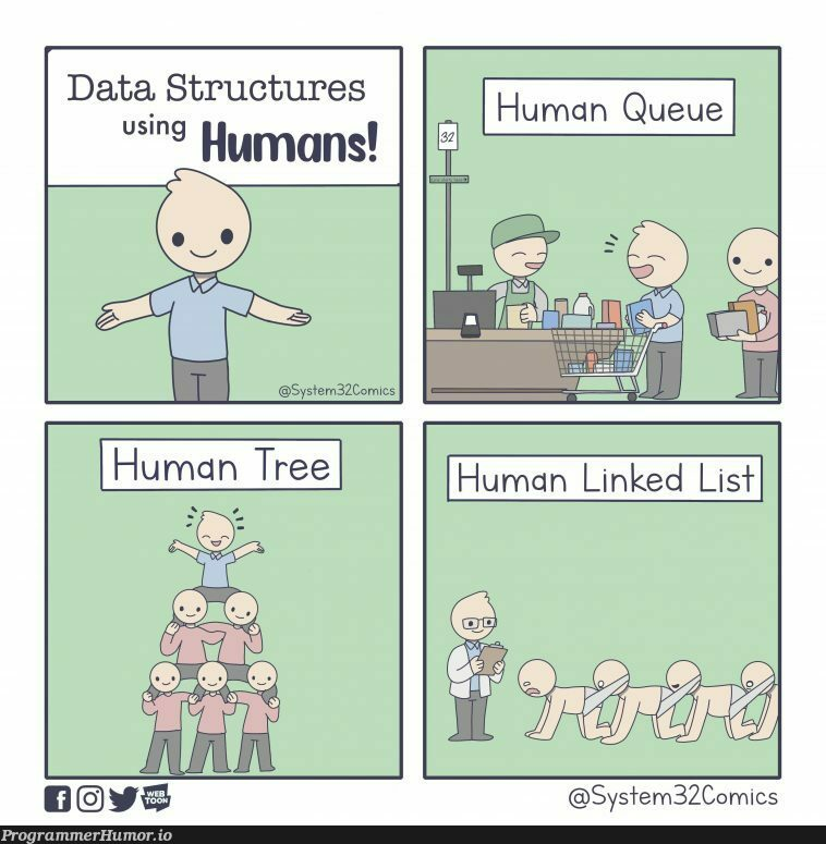 Data Structures Using Humans | data structures-memes, data-memes, cs-memes | ProgrammerHumor.io
