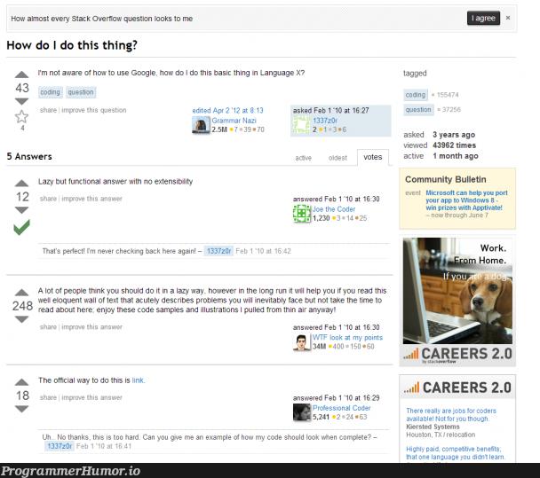The Average Stack Overflow Question | coding-memes, code-memes, coder-memes, stack-memes, stack overflow-memes, google-memes, loc-memes, windows-memes, function-memes, overflow-memes, microsoft-memes, IT-memes, language-memes | ProgrammerHumor.io