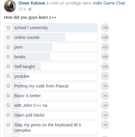 How did you learn C++? (open poll on facebook) | code-memes, c++-memes, facebook-memes, IT-memes, youtube-memes | ProgrammerHumor.io
