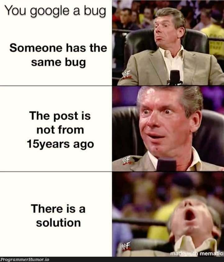 And that solution doesn't work for u😈 | google-memes, bug-memes | ProgrammerHumor.io