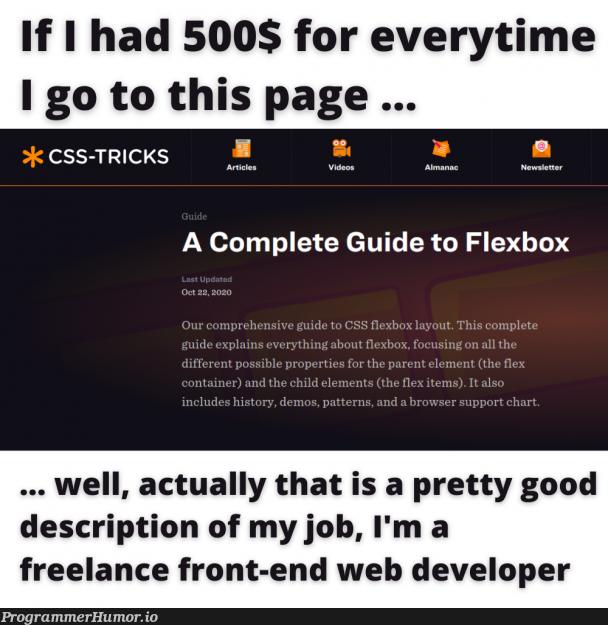 display: flex; go brrrr | developer-memes, css-memes, web developer-memes, web-memes, IT-memes, ide-memes, front-end-memes, container-memes, cs-memes | ProgrammerHumor.io