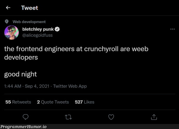 How many weeb developers do we have out there? | developer-memes, web development-memes, development-memes, web-memes, engineer-memes, frontend-memes, twitter-memes, retweet-memes | ProgrammerHumor.io