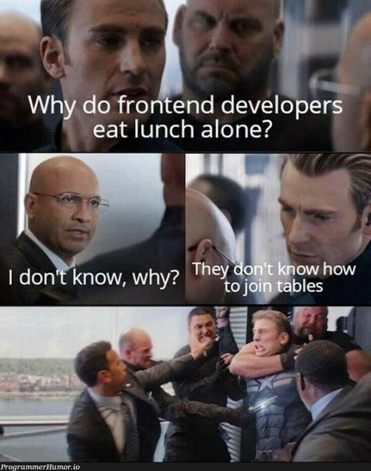 They are just frontend developers ! | developer-memes, frontend-memes | ProgrammerHumor.io