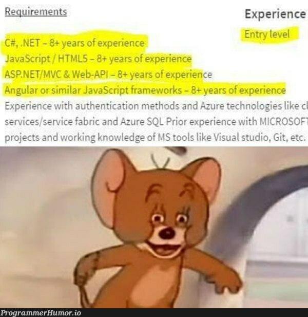 relevant requirements? NEVER | html-memes, javascript-memes, tech-memes, java-memes, web-memes, try-memes, git-memes, requirements-memes, visual studio-memes, sql-memes, asp.net-memes, .net-memes, angular-memes, azure-memes, authentication-memes, edge-memes, c#-memes, ML-memes, framework-memes | ProgrammerHumor.io