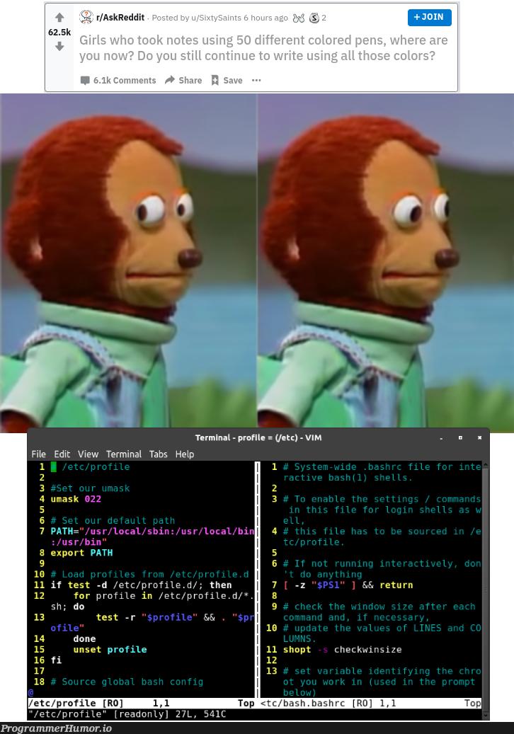Silly girls color coding notes! Who does that? Right guys! Guys? Guys..... | coding-memes, vim-memes, test-memes, loc-memes, terminal-memes, bash-memes, reddit-memes, tabs-memes | ProgrammerHumor.io