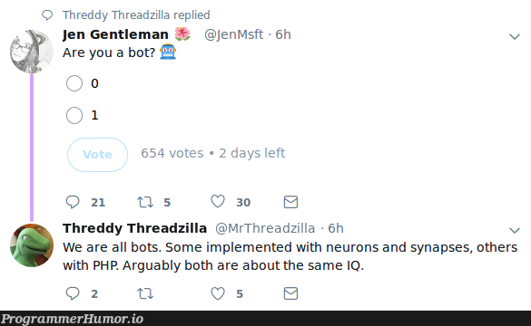 Are you a bot ? 🤖 | php-memes, bot-memes | ProgrammerHumor.io