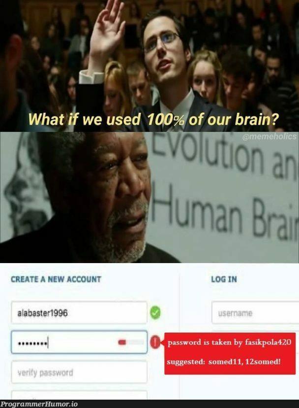 When a developer uses his 100% of his cerebral capacity. | developer-memes, password-memes | ProgrammerHumor.io