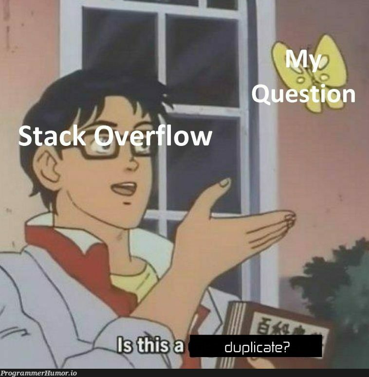 Stack overflow in a nutshell | stack-memes, stack overflow-memes, shell-memes, overflow-memes | ProgrammerHumor.io