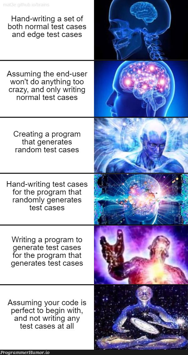 Creating test cases | code-memes, program-memes, test-memes, random-memes, edge-memes, bot-memes, ML-memes | ProgrammerHumor.io